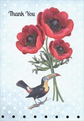 Bird / Flowers - Thank You Card Thank You