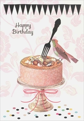 Bird / Cake - Birthday Card Birthday