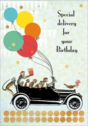 Monkeys in Car with Balloons - Birthday Card