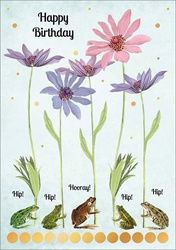 Frogs and Flowers - Birthday Card