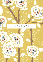 White Flowers on Green - Thank You Card