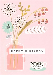Vase with Flowers on Pink - Birthday Card