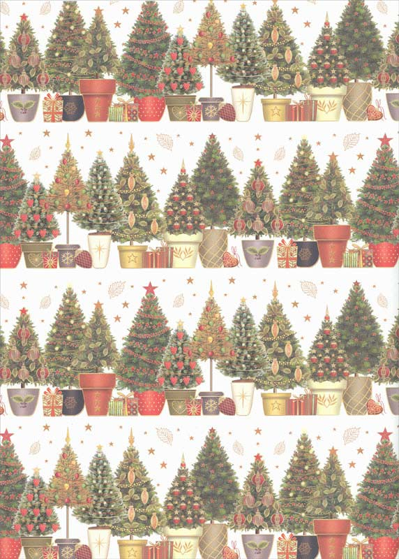 Trees in Pots - Christmas Roll Gift Wrap Christmas