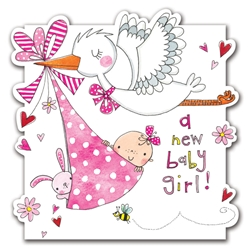 Pink Stork Girl - Baby Card
