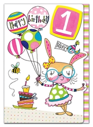First Birthday Rabbit - Birthday Card