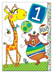 First Birthday Giraffe / Bear - Birthday Card
