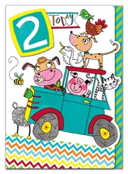 Second Birthday Animals Car - Birthday Card
