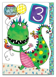 Third Birthday Dinosaur - Birthday Card