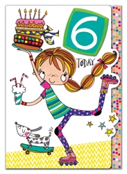 Sixth Birthday Skate Girl - Birthday Card