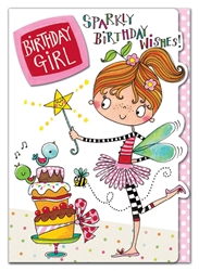 Girl / Wand - Birthday Card