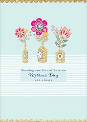 Three Vases & Flowers - Mothers Day Card