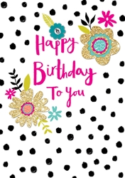 Flowers and Dots - Birthday Cards