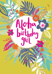 Aloha Girl - Birthday Card