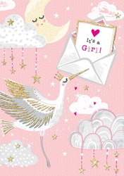 Pink Stork - Baby Card Baby
