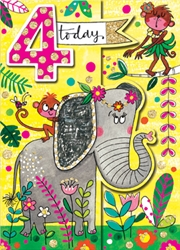 Fourth Birthday Elephant - Birthday Cards