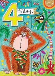 Fourth Birthday Monkey - Birthday Cards