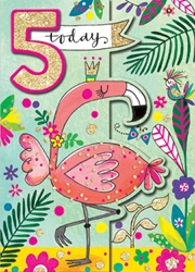 Fifth Birthday Flamingo - Birthday Cards