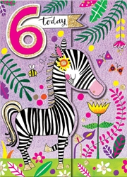 Sixth Birthday Zebra - Birthday Cards