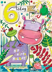 Sixth Birthday Hippo - Birthday Cards
