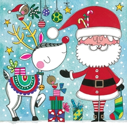Santa and Deer Jigsaw Puzzle - Christmas Card Christmas