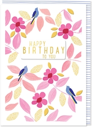 Birds and Pink Flowers - Birthday Card