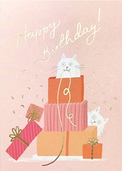 Cat with Gifts - Birthday Card
