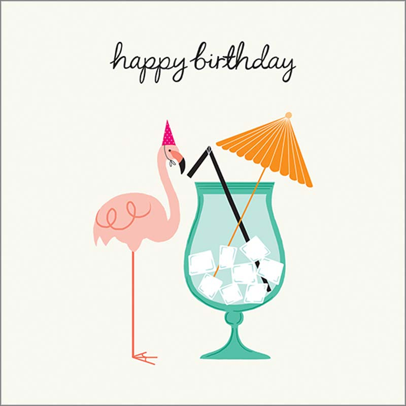 Flamingo Drink - Birthday Card Birthday