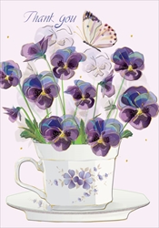 Cup with Flowers - Thank You Card