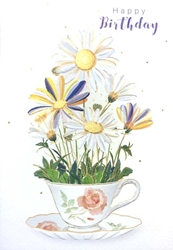 Tea Cup with Daisies - Birthday Card Birthday