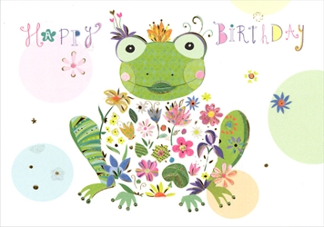 Frog with Flower - Birthday Card