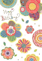 Patterned Flowers - Birthday Card