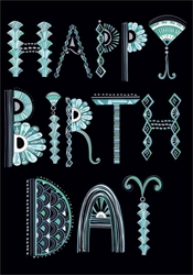 Teal Text on Black - Birthday Cards