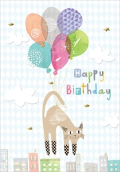 Cat & Balloon - Birthday Card
