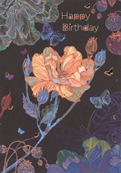 Flowers on Black - Birthday Card