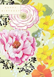 Pink & Yellow Flowers - Birthday Card