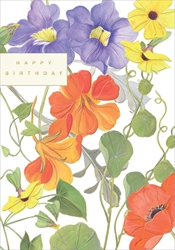Purple & Red Flowers - Birthday Card